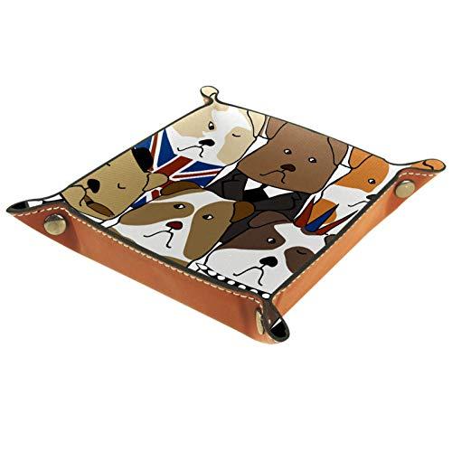 MUMIMI Badezimmer Küche Kommode Tablett Schmuck Geschirr Ring Halter Kosmetik Organizer Englische Bulldogge auf Weiß