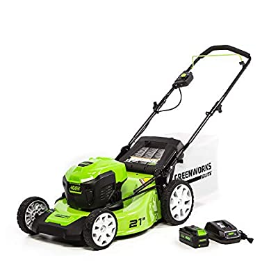Greenworks M-210 21-Inch 40V Brushless Push Mower, 6Ah Battery & Charger Included