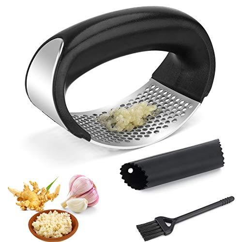PSISO Garlic Press Rocker, Premium Garlic Press Stainless Steel, Garlic Crusher with Silicone Garlic Peeler/Cleaning Brush, Easy Operate and clean Kitchen Gadget (2020)