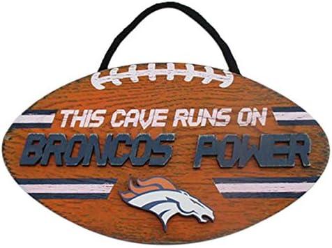 FOCO NFL Team Logo Football Shape Mancave Man Cave Hanging Wall Sign Denver Broncos product image