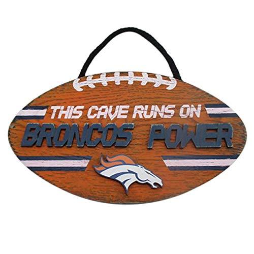 FOCO NFL Team Logo Football Shape Mancave Man Cave Hanging Wall Sign (Denver Broncos)