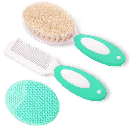 Baby Hair Brush and Comb Set for Newborns & Toddlers | Natural Soft Goat Bristles | Ideal for Cradle Cap | Perfect Baby Registry Gift (Green)