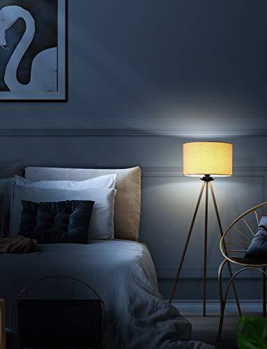 Deckey Stehlampe für wohnzimmer Schlafzimmer, dreibeinige Stehlampe, modern Stehleuchte, Stativ Standleuchte mit Stoffschirm in Leinen, E27 Fassung, 156 cm Höhe