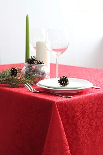 RusDecor Mantel Rojo Impermeable Antimanchas - 150' x 150' – Poliéster- Algodón- Rectangular-Navidad- Fiesta
