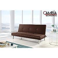 CAMBIA TUS MUEBLES - Sofá Cama Sol, 1.90 cm 3 plazas, Clic clac Libro Marrón