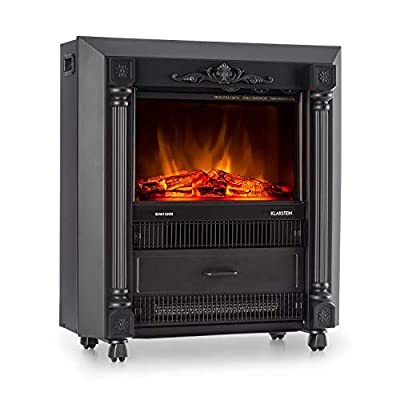 Klarstein Grenoble Electric Fireplace - Heater, 1850 W, Flame Simulation, Integrated Fan and Thermostat, Lifelike Design, Unobtrusive Operating Controls, Metal Housing, Black