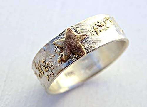 mens wedding band gold and silver, celtic wedding band, starry night ring, night sky ring, mens promise ring, viking wedding ring gold