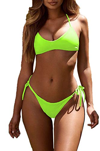 HVEPUO Women's Shine Swimsuit Cute Hipster Slim Tiny Strapless String Longline Bikini Two Piece Side Tie Bottoms Swim Set Fluorescent Green neon Green L