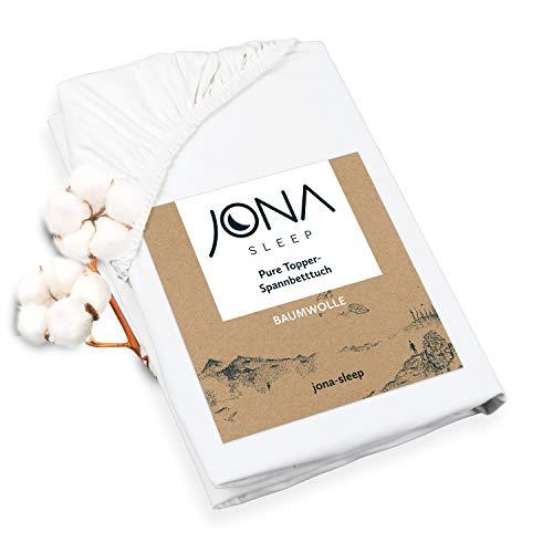 JONA SLEEP Topper-Bezug (180x200 cm) Weiß, Topper Spannbettlaken Boxspringbett aus Baumwolle - Öko Tex - Topper Spannetttuch für einfaches Beziehen (Weiß, 180 x 200 cm)