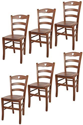 t m c s Tommychairs - Set 6 sillas Cuore para Cocina y Comedor, Estructura en Madera de Haya Color Nuez Claro y Asiento en Madera