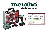 Metabo Mobile Werkstatt Akkuschrauber BS18 Set 79 tlg. + Pica Marker inkl. Ersatzminen (2x Akku 18V 2,0 Ah, Ladegerät, Werkzeugkoffer, Block) 602207880