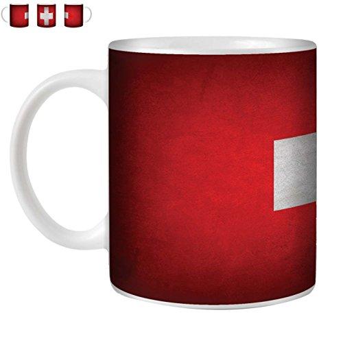 STUFF4 Tee/Kaffee Becher 350ml/Schweiz/Swiss/Weinlese-Flaggen/Weißkeramik/ST10