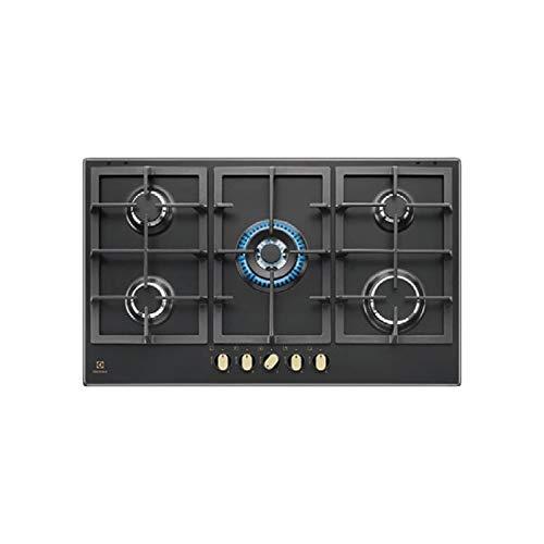 Electrolux KGS 9536 RN Plaque de cuisson à gaz finition fonte noire et poignées bronze 90 cm
