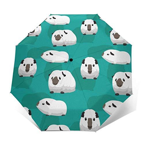 Meerschweinchen Himalaya Automatischer Faltschirm Dreifach gefalteter Sonnen-UV-Schutz Klarer Regenschirm