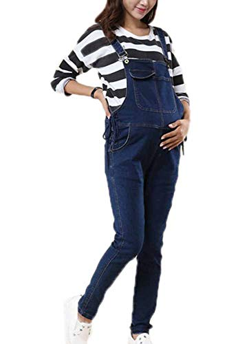 keephen Schwangere Frauen Denim Latzhose Overall Umstandsmode Lifting Belly Bib Overalls Jeans Hosen