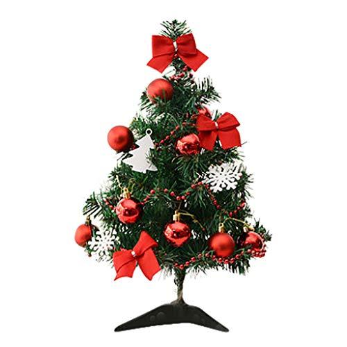 LoveLeiter Mini Weihnachtsbaum klein Künstlicher Tannenbaum Baumschmuck Weihnachtskugeln Künstliche Weihnachts Desktop Dekoration komplett geschmückt mit Kugeln Schneeflocke Bowknot 45cm