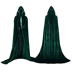 HIGH QUALITU VELVET: The cape is made of a very nice and soft velvet fabric. The velvet is thin and a little transparent when you looking at it in The light, but when worn, it is completely opaque and keeps you warm. LENGTH FALLS TO THE GROUND: See t...