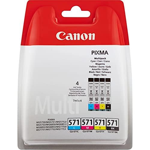 Canon CLI-571 Cartuccia Inchiostro, Ciano/Magenta/Giallo/Nero, 4 Pezzi