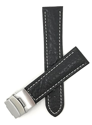 Bandini 22mm Mens Italian Leather Watch Band Strap - Black - Deployment Clasp Buckle - White Stitch