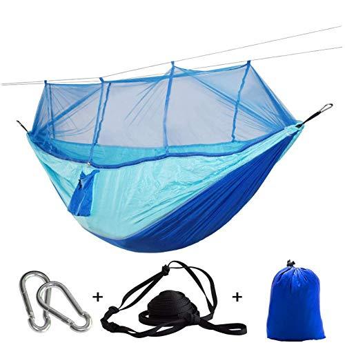 ZXL draagbare net muggenhangmat tent met verstelbare bandjes en grote karabijnhaken Blauw Diep Blauw