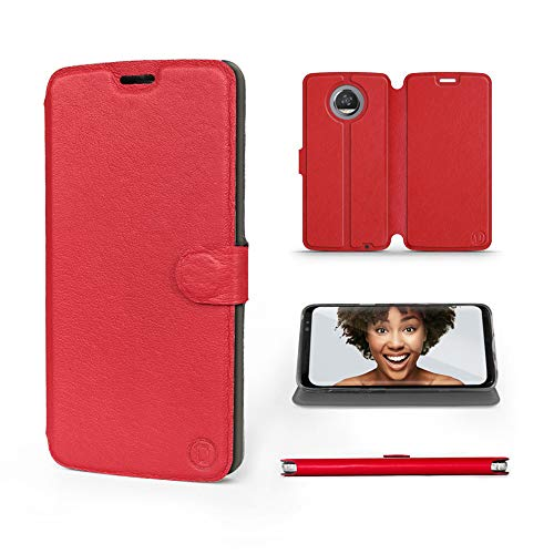 Mobiwear | Echt Lederhülle | Kompatibel mit Motorola Moto Z3 Play, Made in EU handyhülle, Slim Leather Hülle, Premium Flip Schutzhülle, Transparent TPU Silicon, Book Style, Tasche - Rotes Leder