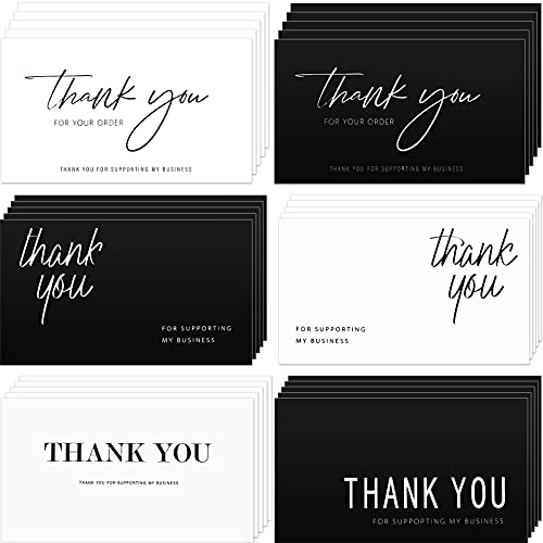 120 Pieces Thank You for Your Order Cards Customer Appreciation Note Cards Thank You for Supporting My Business Card for Small Business Owners Stores Online Retailers 3.5 x 2 Inch, Black and White