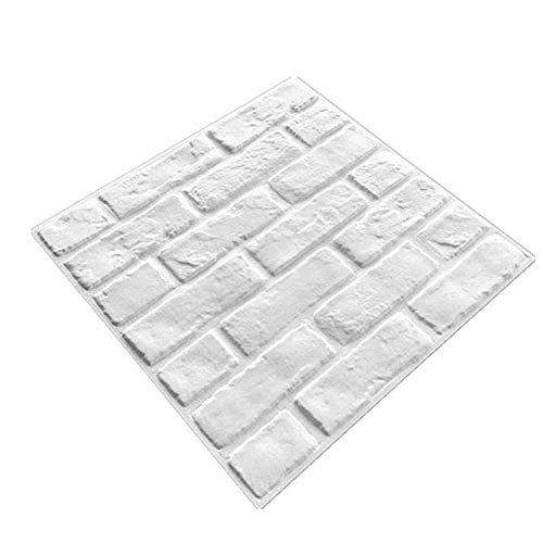 Dekorative 3D Wandpaneele Weiße Ziegel-Tapete für Wohnzimmer Schlafzimmer Hintergrund Wanddekoration (10 Stück, Weiß)