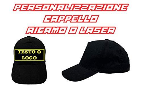 Cappello Nero da Baseball Ricamato con Logo o Scritta Personalizzata - Nero