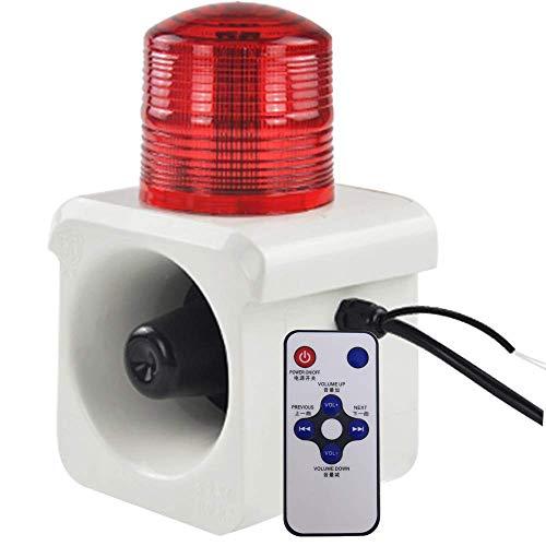YJINGRUI 12V Sirena Alarma Estroboscópica Impermeable 120dB Alarma Sonido y Luz con Mando Infrarrojo 8m de Distancia de Inducción Voz personalizada Sistema de seguridad Cámaras (12V)