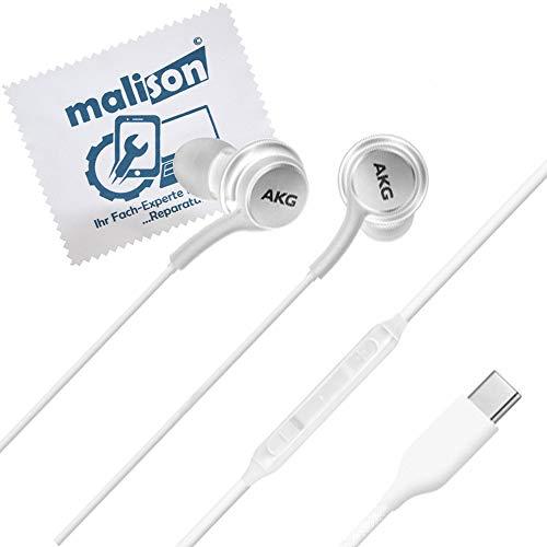 Stereo-In-Ear-Kopfhörer für Original AKG Samsung Typ USB-C für Galaxy Note 10 / Note 10 Plus / Headset / White / headphone GH59-15107A [mit maIison-Displayputztuch] (frustfreie Verpackung)(Weiß Weiss)