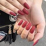 Sethexy 24 piezas Mate Bailarina Puro Color Uñas falsas Ataúd Cobertura total Medio Acrílico Puntas de uñas de arte Para mujeres y niñas(rojo)