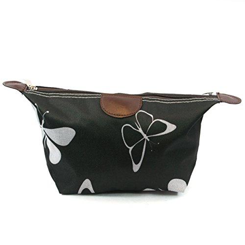 Schwarz & Weiß Schmetterling Design Print Leicht Urlaub/Wochenende Wash Bag/Make-up Bag/Compact WC