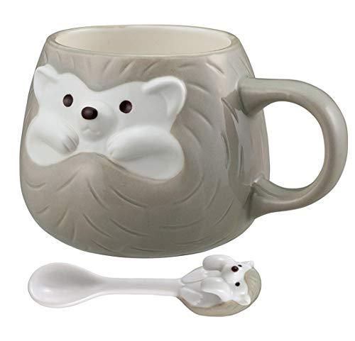 Hedgehog Ceramic Coffee Mug with Matching Ceramic Spoon for Coffee Tea Milk (Grey)