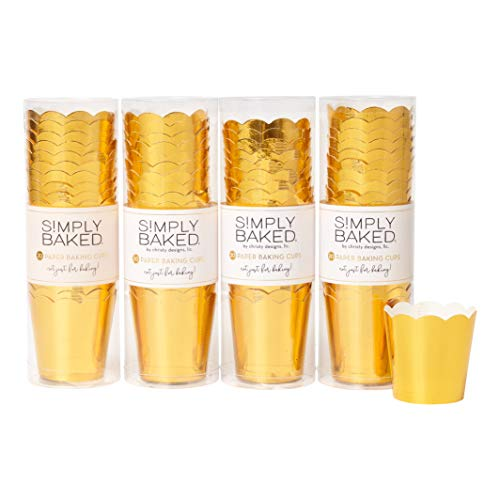 Simply Baked Petite 2 Ounce Disposable Paper Baking Cups, 80 Pack of Cupcake Muffin Wrappers for Baking or Party, Treats, Candy, and Snack Cups, Metallic Gold