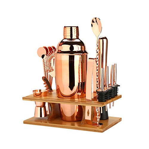 HGGDKDG Juego de coctelera, 16 piezas para batidora de vino, herramientas de barras de acero inoxidable, accesorios para fiestas de bebidas en el hogar (color oro rosa)