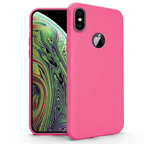 N NEWTOP Funda compatible para Apple iPhone XS Max, funda TPU Soft Gel Silicona Ultra Slim Flexible Case Trasera Protectora (Fucsia)