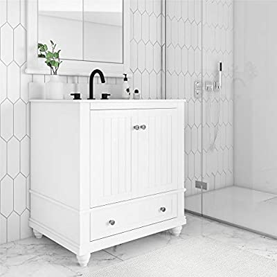 Dorel Living Monteray Beach 30 Inch, White Bathroom Vanity, 30""