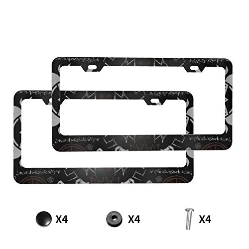 Aluminum License Plate Frame with Screw Caps,Supernatural Symbols Black 2Pcs 2 Holes Plate Holder, Car Licenses Plate Covers for Vehicles