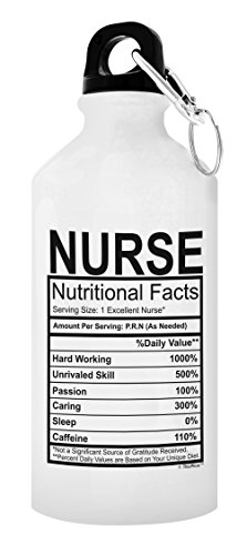ThisWear Nurse Gifts for Women Nurse Water Bottle Nutritional Facts Funny Nurse Practitioner Gifts for Nurses Gift 20-oz Aluminum Water Bottle with Carabiner Clip Top Nurse