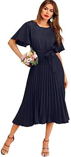 Milumia Women s Elegant Belted Pleated Flounce Sleeve Long Dress Navy Large product image