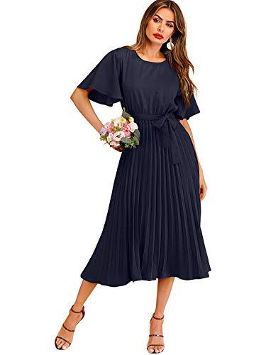 Milumia Women's Elegant Belted Pleated Flounce Sleeve Long Dress Navy Blue Large