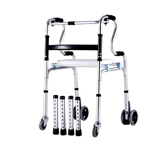 Ruedas Andador con ruedas de aluminio con asiento y respaldo acolchados Andador con ruedas plegable Ayuda de movilidad para adultos, personas mayores, discapacitados mayores, marco plateado para camin