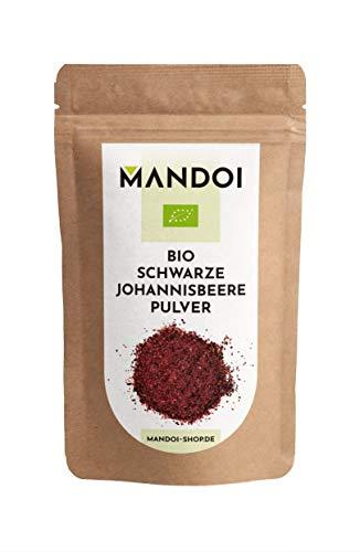 Mandoi BIO schwarze Johannisbeere Pulver, 100g. Fruchtpulver aus 100% Johannisbeeren ohne Zusätze, black currant powder