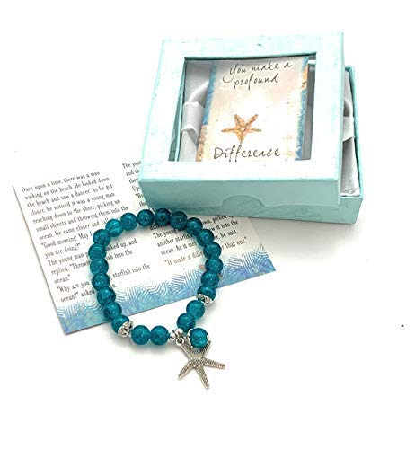 Smiling Wisdom - Starfish Stretch Story Bracelet Starfish Story Gift Set - You Make a Profound Difference - Appreciation Thanks - Friend Teacher Volunteer Caregiver - Woman Teen Girl - Teal Blue 7.5in