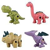 WSZMD Juguetes De Modelo De Dinosaurio Montado, 4 En 1 DIY con Destornillador Tyrannosaurus Rex, Triceratops, Pteranodon, Brachiosaurus Conjuntos De Modelos Ensamblados,Color Boxed