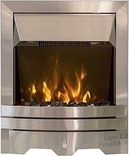 Electric Inset Fire Modern LED Flame Brushed Steel Insert Fireplace Remote Control Coals Pebbles 2kW