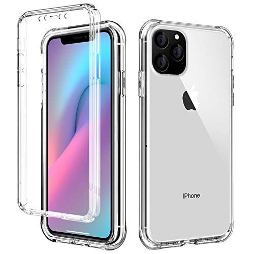 AICase iPhone 11 Hülle,iPhone 11 Schutzhülle Transparent Stoßfest Case, 360 Grad Bumper Handyhülle Clear Cover mit Integriertem Displayschutz für iPhone 11 6.1 Inch 2019