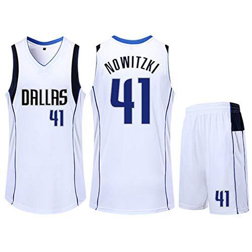 VNBA Dirk Nowitzki Basketball Trikot, Mavericks 41 Kinder Polyester Atmungsaktiv Fan Basketball Trikot und Shorts Set-White-2XS(135.145CM)