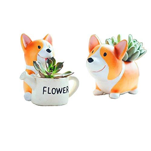 Youfui Cute Corgi Dog Shaped Flowerpot Succulent Plants Pot Planter, Set of 2 (Crogi A+Crogi B)