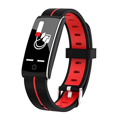 Yumanluo Reloj Inteligente Mujer Hombre,IP68 Impermeable, batería de Larga duración, recordatorio de presión Arterial de frecuencia cardíaca-Rojo,Pulsera de Actividad Inteligente Reloj Deportivo